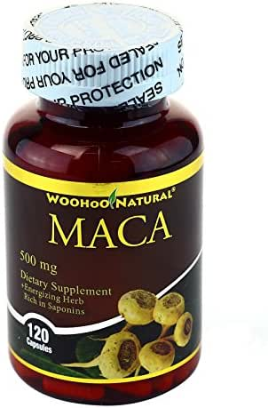 WooHoo Natural Peruvian Maca 500 mg - 120 Capsules (1 Bottle)