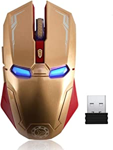Wireless Mouse 2.4G Portable Mobile Optical Iron Man Mouse with USB Nano Receiver, 3 Adjustable DPI Levels, 6 Buttons for Notebook, PC, Laptop, Computer, MacBook - Gold