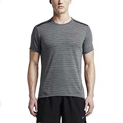 Nike Mens Dri-Fit Cool Tailwind Running Shirt 872018 (Medium, Cool Grey/reflective Silver-Black)