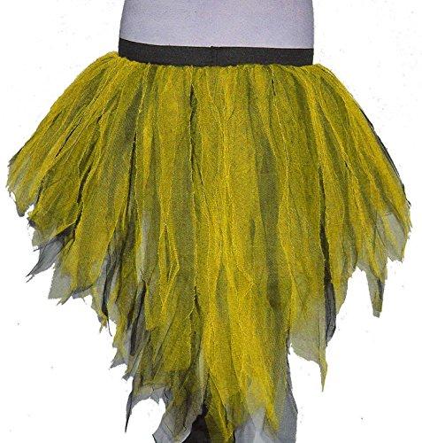 [Yellow Black Trashy Bustle Peacock Seven Layer Trashy Tutu Skirt Halloween] (Peacock Spider Costume)