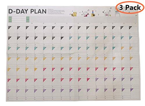 ExcelityD-Day 100 Calendar Plan Paper 100 Days Countdown Schedule Wall Calendars-3 Pack