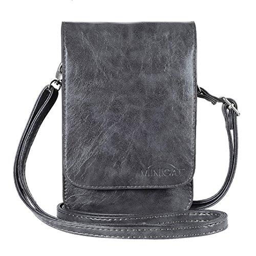 MINICAT Touch Screen Design Premium PU Leather Crossbody Cell Phone Wallet Purse (Gray-PU) (Iphone Purse Crossbody)