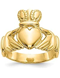 Solid 14K Yellow Gold Mens Claddagh Ring