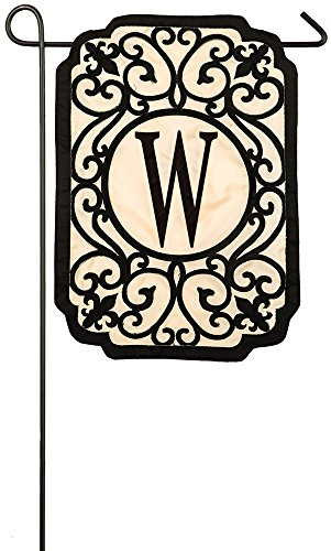 Evergreen Filigree Monogram W Applique Garden Flag, 12.5 x 1
