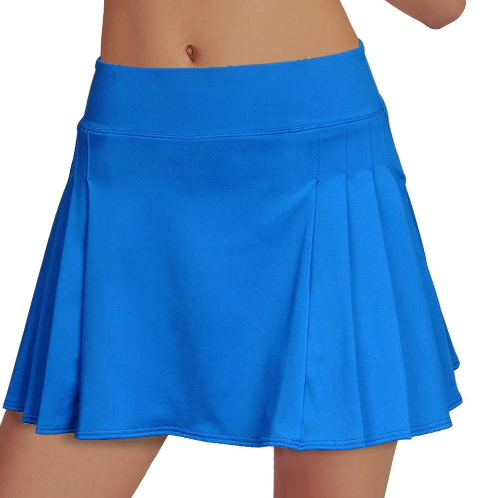 Women's Tennis Skirt Elastic Active Athletic Skort Lightweight Skirt Built-in Shorts for Running Tennis Golf Workout Blue by RainbowTree