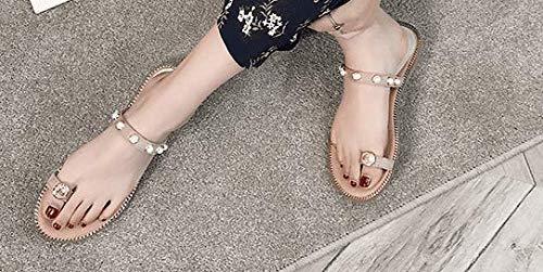 AWXJX Frauen Sommersaison Frauen AWXJX Flip Flops High Heel Kreuz Fein mit Wasserdicht Golden 6 US/36 EU/3.5 UK - 99a185