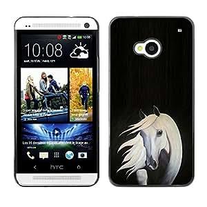 Caucho caso de Shell duro de la cubierta de accesorios de protección BY RAYDREAMMM - HTC One M7 - Horse Painting Art Grey White Black