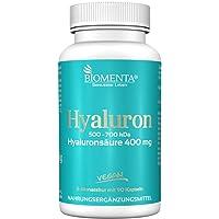 BIOMENTA ACIDO IALURONICO | 400 mg 500-700 kDa | VEGANO | 90 capsule di acido ialuronico | Pelle, Tessuto connettivo, Giunti e Membrane mucose | un 3 mesi cura
