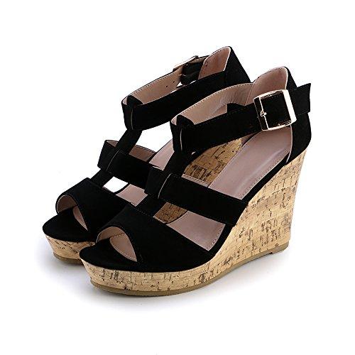 Salvaje Fondo Mujeres Plataforma Tacones De Verano Pendiente De Las Zapatos Tejido De Agua Zapatos Grueso black Bizcocho Sandalias 10Cm Resistente Al De KPHY wnZWx0q