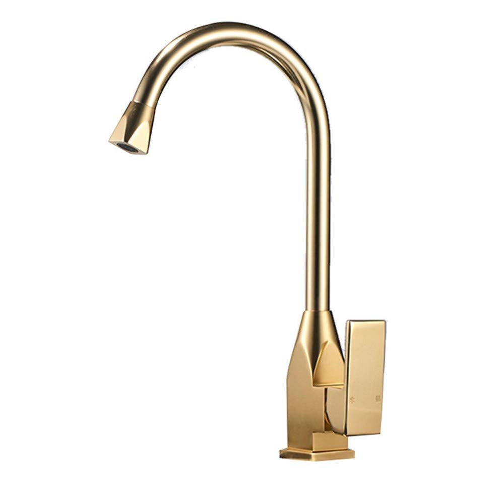 YJZ Single Handle Kitchen Sink Faucet 1 Hole Space Aluminum Kitchen Swivel Tap Hot Clod Mixer,Gold