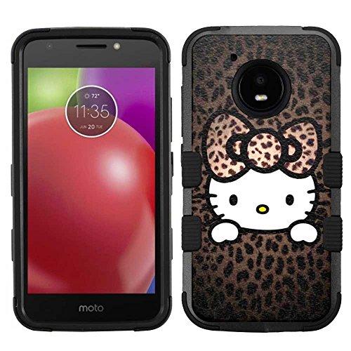 Motorola Moto E4 Case, Hard+Rubber Dual Layer Hybrid Heavy-Duty Rugged Armor Cover Case - Hello Kitty #HP