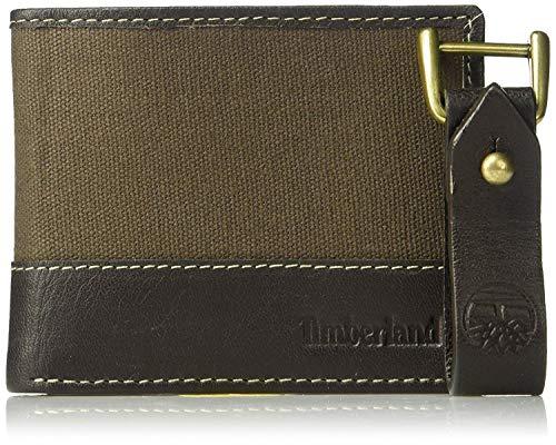 Timberland Men's Canvas & Leather Billfold Gift Set,dark bro