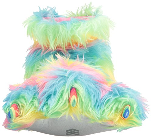 Rainbow Moccasin Paw Slippers Rainbow Girls Fuzzy Plush Trimfit APqY5wgZ