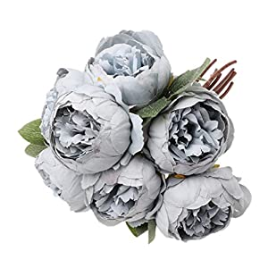 cici store Artificial Silk Fake Peony 7 Heads Flowers - Wedding Party Home Decoration Photography Props (Gray Blue) 25