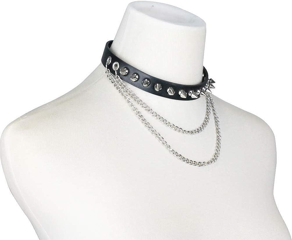 macoking Goth Leather Collar Choker Studded Spike Rivet Black Necklace Punk Bracelet