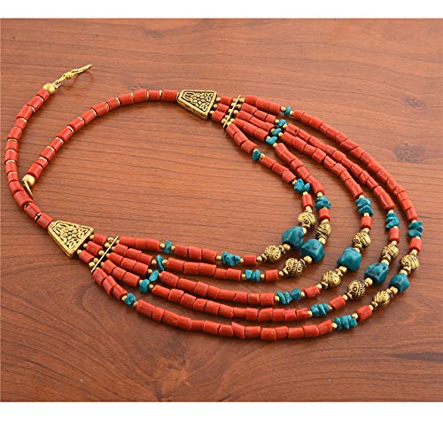 Zephyrr Fashion Multi Strand Beaded Choker Necklace Tibetan Handmade for Women