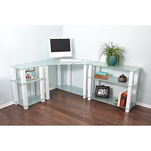 RTA Home and Office CT-013125W Frosted Tempered Glass Corner Computer Desk with Left and Right Extension Table, Gloss White
