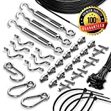 Cheap String Light Hanging Kit With Zip Ties For Outdoor Patio Globes – 164 ft Stainless Steel 304 DIY Suspension Cable System – Black Vinyl-Coated Guide Wire Rope, Snap Hooks, Tension Turnbuckles, Pad Eyes