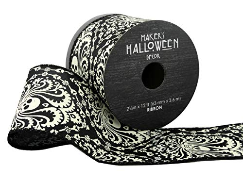 Maker's Halloween Ribbon 2.5'' x 12' Paisley Skulls ()