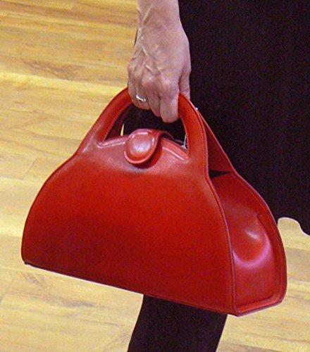 Sac à main en cuir, rouge, Par Steven Harkin 'Barbara'