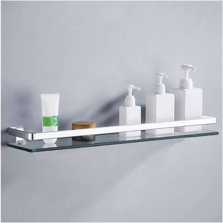 Pared Cesta de ducha Los estantes de ducha de vidrio templado carrito de la ducha estantería de baño Accesorios de cristal con la pared de montaje en carril de 20 pulgadas de aluminio del espacio YueB