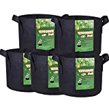 VIVOSUN 5-Pack 7 Gallons Heavy Duty Thickened Nonwoven Fabric Pots Grow Bags with Handles