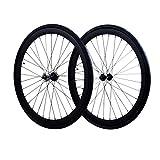 Fixie Wheels Set Fixed Gear Flip-Flop Rear Wheels 45mm with Kenda Tires 25C, Matte Black