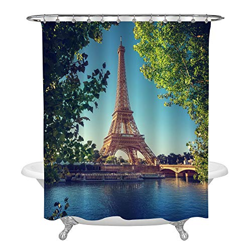 MitoVilla Blue River with France Eiffel Tower Architecture Shower Curtain Set with Hooks, No Liner Needed, Paris City Landmark Bathroom Curtain for Spring Green Home Decor, 72
