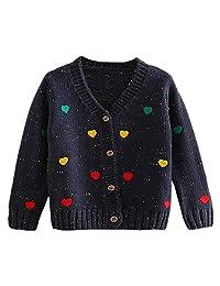 LittleSpring Little Girls' Cardigan Buttons Heart