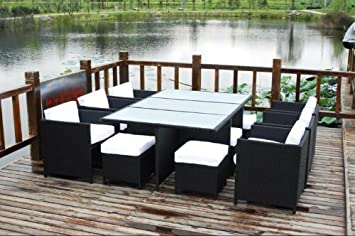 Superb 13 Piece Outdoor Sectional Dining Wicker Patio Furniture Set