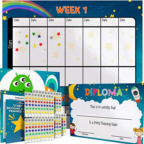 Potty Training Reward Chart - Multicolored Star Stickers Mark Behavior Progress - Motivational Toilet Training for Toddlers and Children - Great for Boys and Girls (Space Theme)