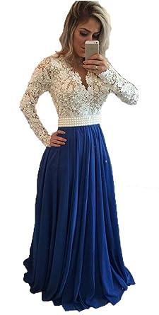 56bc4d030ff Amazon.com  Fanmu A line Long Sleeve Lace Chiffon Prom Dress Evening ...