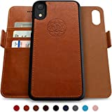 Dreem Fibonacci 2-in-1 Wallet-Case for iPhone XR Magnetic Detachable Shock-Proof TPU Slim-Case, Wireless Charge, RFID Protection, 2-Way Stand, Luxury Vegan Leather, Gift-Box - Caramel