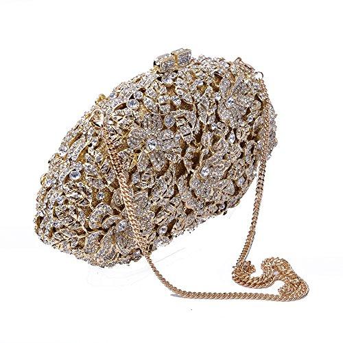 Women Bag Luxury Evening Rhinestone Fashion Crystal Pattern Evening Wedding Clutch Flower Bag Diamond Shoulder Bag Gold GAOXIA qwZRdw