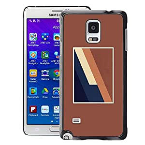 Planetar® ( Brown Lines Frame Blue Minimalist ) Samsung Galaxy Note 4 IV / SM-N910 Fundas Cover Cubre Hard Case Cover