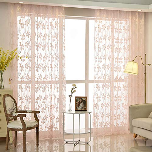 AiFish Window Sheer Curtain Drapes for Living Room Pink Sheer Panels Rod Pocket Floral Lace Window Treatment Tulle Voile Curtainsfor Girls Bedroom Sliding Glass Door 1 Panel W52 x L84 inch ()
