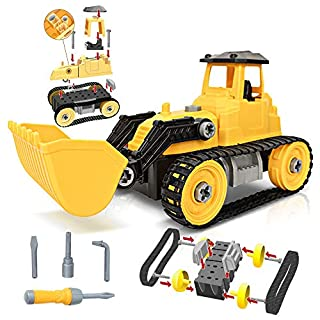ArtCreativity Take Apart Yellow Bulldozer Toy Truck - 46 Pieces with Tools - Large Excavating Backhoe Toy - Perfect Digger Toy and Great Birthday Gift Idea for Boys and Girls Ages 3+
