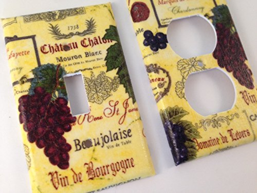 French Wine Grapes Single Light Switch plate Cover / Italian Home Decor / Wine Decor / Kitchen Decor / Tuscan Kitchen / Vino Kitchen- All Sizes Offered
