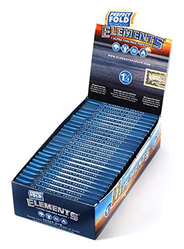 Elements Perfect Fold Ultra Thin Rice Papers (1.25) 50 Leaves Per Pack, Box of 25 Packs = 1250 Leaves