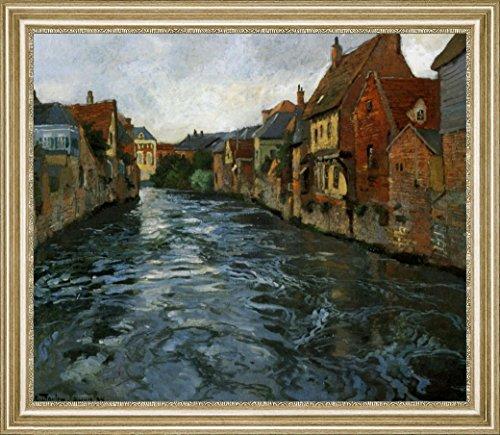 """Bord de Riviere, Vue d'Abbeville by Fritz Thaulow - 15"""" x 19"""" Framed Premium Canvas Print"""