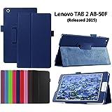 Funda para Lenovo Tab 2 A8-50,Azul oscuro PU Cuero Smart-Shell Funda Cuero Case Cover para Lenovo Tab 2 A8-50 Tablet de 8'' Pulgadas(2015 Edtion) Funda Carcasa Piel con Soporte