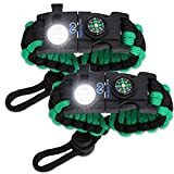 Nexfinity One Survival Paracord Bracelet - Tactical Emergency Gear Kit with SOS LED Light, Knife, 550 Grade, Adjustable, Multitools, Fire Starter, Compass, and Whistle - Set of 2 Green