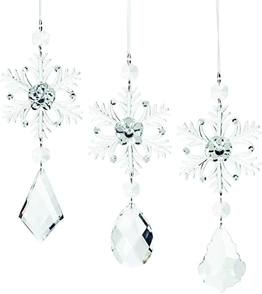 Snowflake Christmas Ornament Clear Acrylic 3 in Abbott Collection Holiday Decor