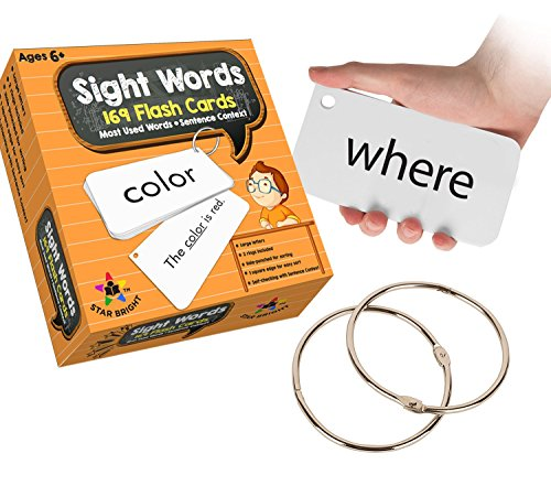 (Star Right Education Sight Words Flash Cards, 169 Sight Words and Sentences With 2 Rings)