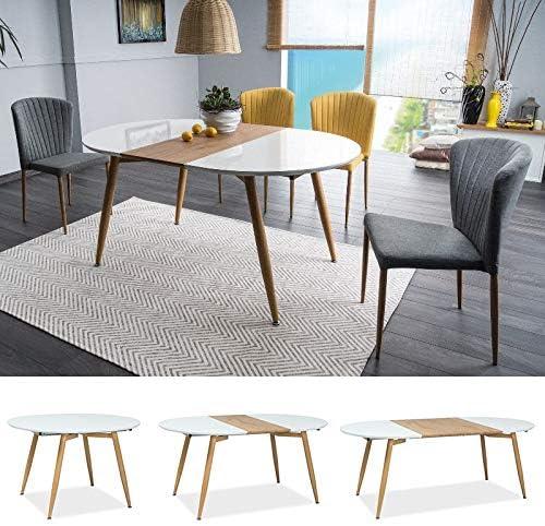 Mhf Avon Extendable Table 120 160 200x100cm Round Shape High Gloss White Amazon Co Uk Kitchen Home