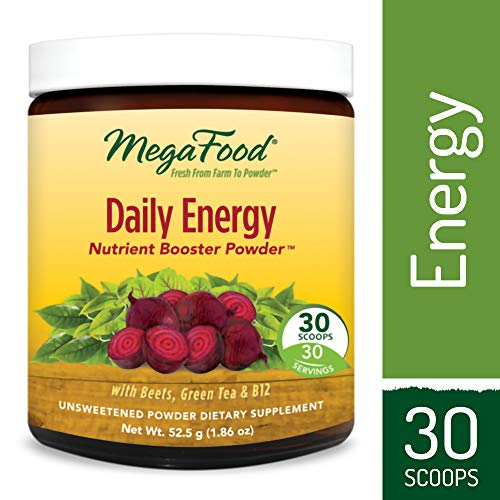 MegaFood - Daily Energy Booster Powder, Promotes Energy, Endurance, Metabolism, and Stress Relief with Vitamin B12 and Ashwagandha, Vegetarian, Gluten-Free, Non-GMO, 30 Servings (1.86 oz)