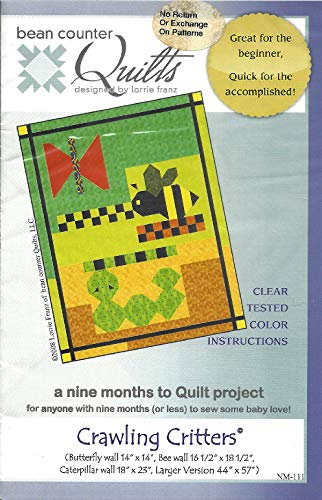 Crawling Critters Baby Quilt Pattern NM-111 from Bean Counter Quilts Designed by Lorrie Franz See Description for Sizes