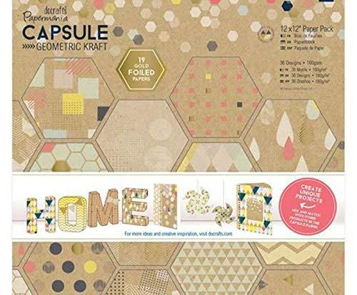 Paper Set 30x30cm Capsule - Geometric Kraft 160g / M2 (36ks), Docrafts, Cardboard, Paper Special, Scrapbooking
