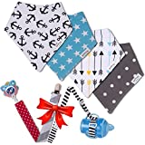 Image of Baby Bandana Drool Bibs by Pashoshi – 4 Pack of Cute Unisex Absorbent Cotton Bibs with Free Pacifier Clip & Bottle/Toy Strap - Modern Baby Gift Set for Boy or Girl Infant – 5 Star Product