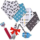 Baby Bandana Drool Bibs by Pashoshi - 4 Pack of Cute Unisex Absorbent Cotton Bibs with Free Pacifier Clip & Bottle/Toy Strap - Modern Baby Gift Set for Boy or Girl Infant - 5 Star Product